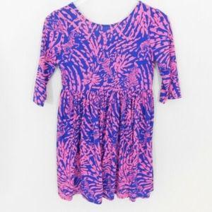 LILLY PULITZER Girls Pink Blue Zebra Dress 12 14